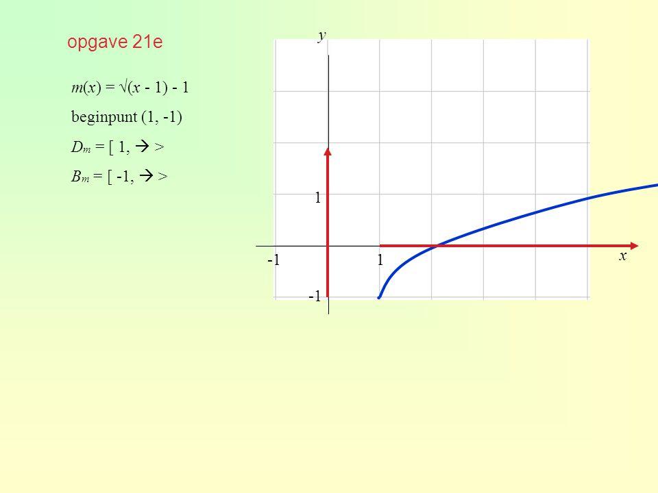 ∙ opgave 21e y m(x) = √(x - 1) - 1 beginpunt (1, -1) Dm = [ 1,  >